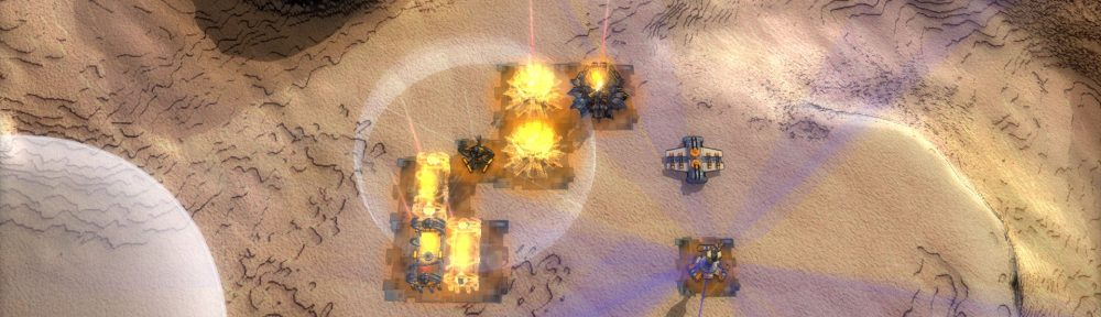 A base screenshot, depicting several economy structures protected by shields and a B.O.X.
