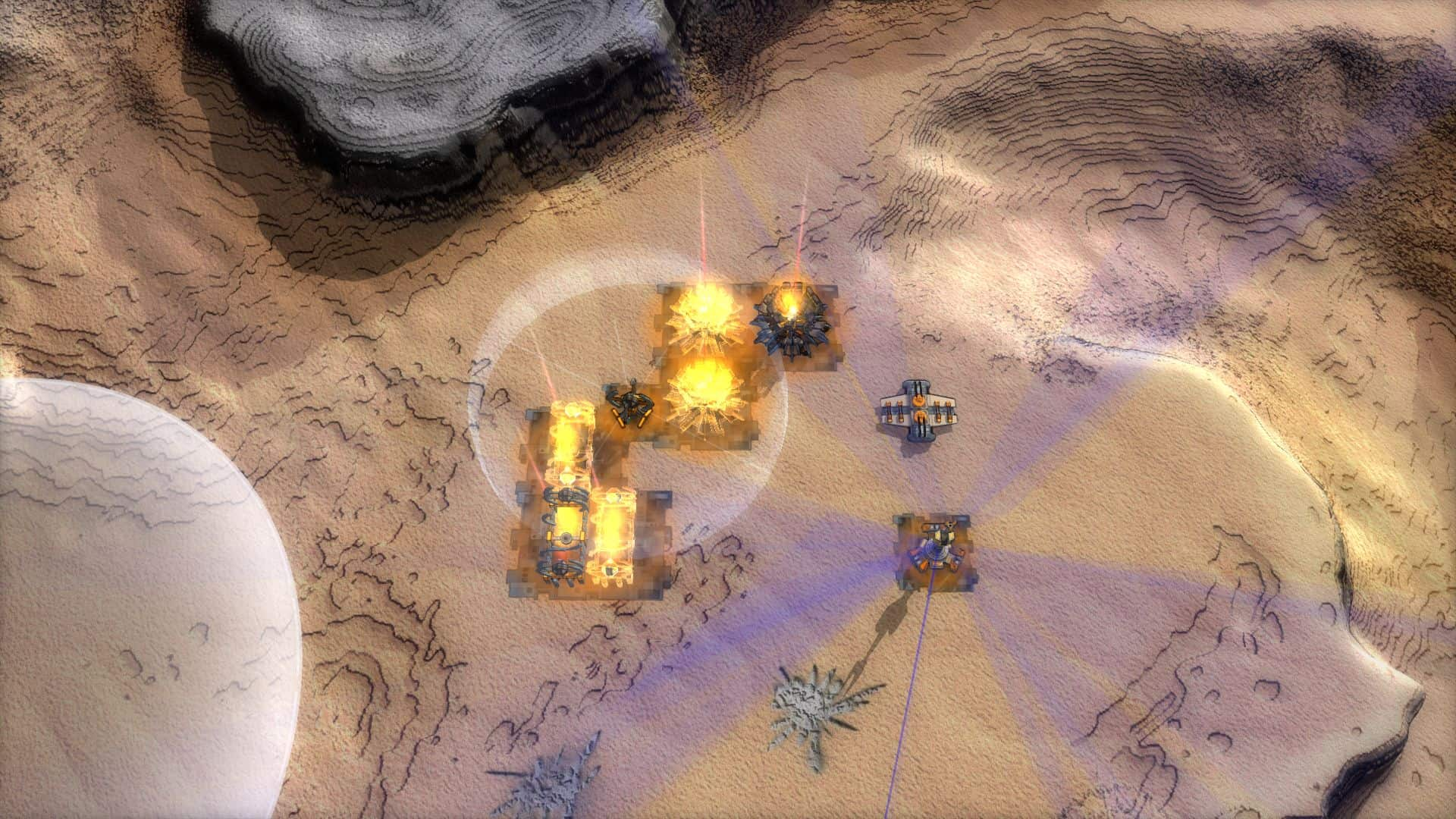 A base screenshot depicting several economy structures and a B.O.X.